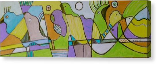 Morning Love With Birds By The Mirror Canvas Print by Michael Keogh