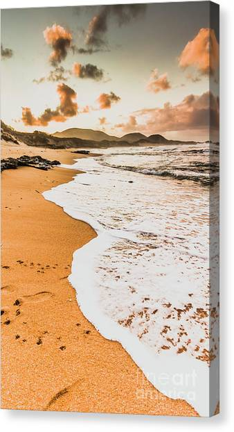 Sandy Beach Canvas Print - Morning Marine Wash by Jorgo Photography - Wall Art Gallery