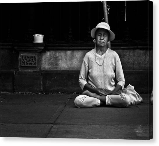 Morning Meditation At Toronto City Hall Canvas Print