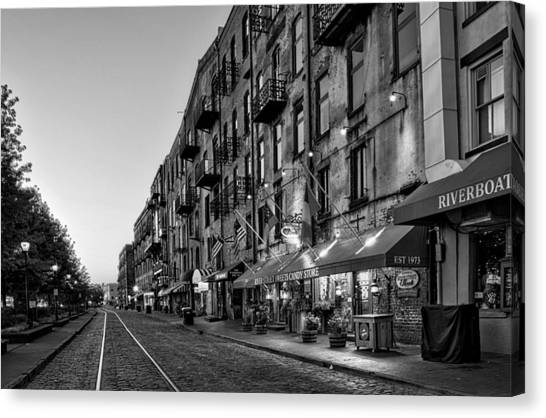 Morning On River Street In Black And White Canvas Print