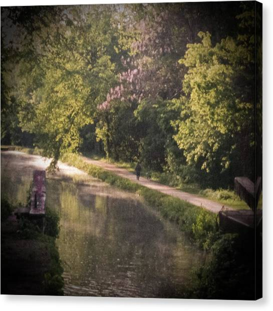 Canvas Print featuring the photograph Spring Morning On The Canal by Samuel M Purvis III