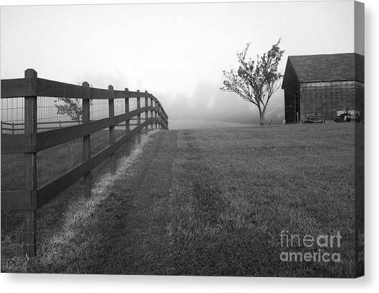Morning On The Farm        Bw Canvas Print