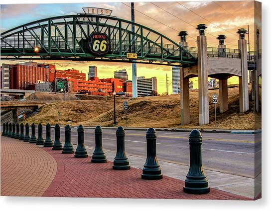 Canvas Print featuring the photograph Rt 66 Sunrise - Tulsa Oklahoma's Route 66 Sign by Gregory Ballos