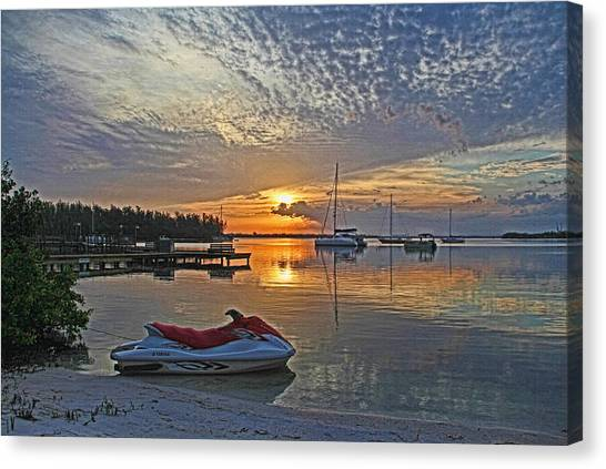 Jet Skis Canvas Print - Morning Peace - Florida Sunrise by HH Photography of Florida