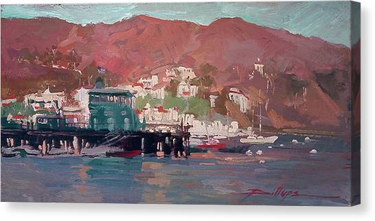 Betty Billups Canvas Print - Morning Pleasures - Catalina Harbor by Betty Jean Billups