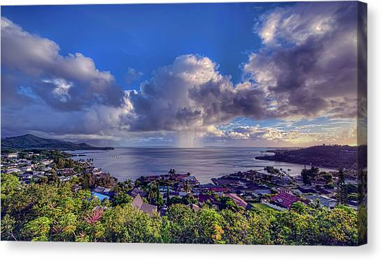 Morning Rain In Kaneohe Bay Canvas Print