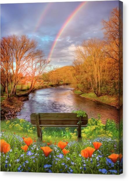 Poppys Canvas Print - Morning Rainbow Mists by Debra and Dave Vanderlaan