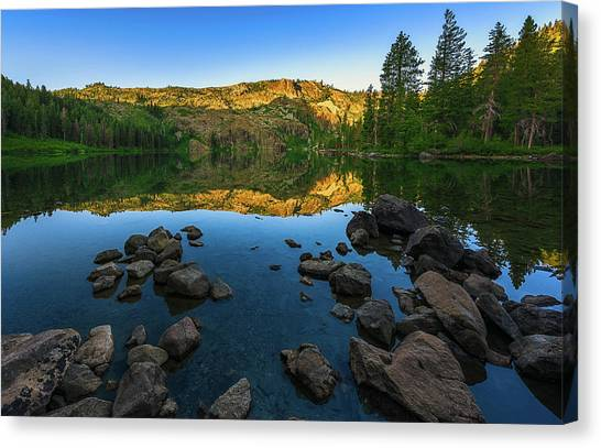 Morning Reflection On Castle Lake Canvas Print