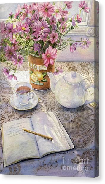 Iced Tea Canvas Print - Morning Reflections by Malanda Warner