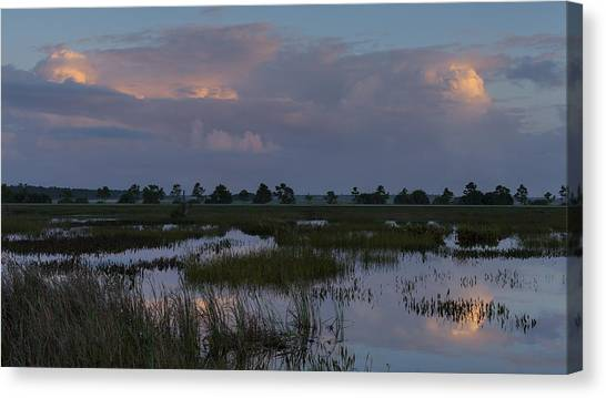 Morning Reflections Over The Wetlands Canvas Print