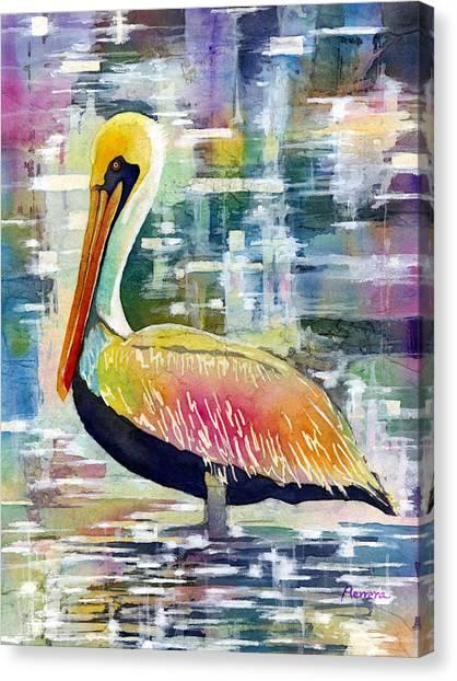 Colorful Bird Canvas Print - Morning Solitude by Hailey E Herrera