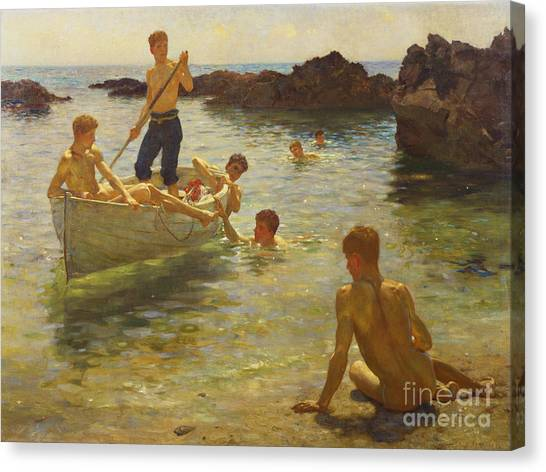 Boat Canvas Print - Morning Splendour by Henry Scott Tuke