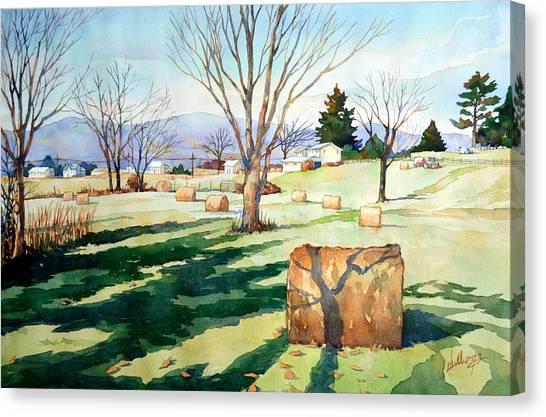 Morning Sun On Haybales Canvas Print