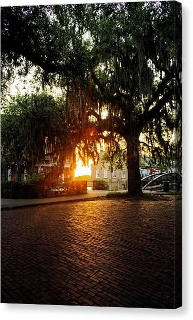 Morning Sun On The Bricks Of Savannah Canvas Print