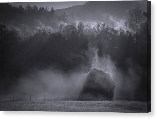Canvas Print featuring the photograph Morning Sun Rising Fog Cades Cove by Dan Sproul