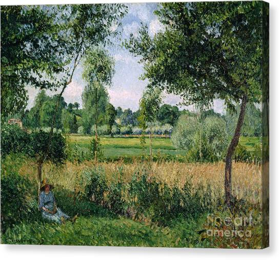 Camille Canvas Print - Morning Sunlight Effect At Eragny by Camille Pissarro