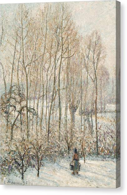 Camille Canvas Print - Morning Sunlight On The Snow Eragny Sur Epte by Camille Pissarro