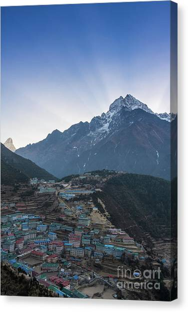 K2 Canvas Print - Morning Sunrays Namche by Mike Reid