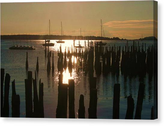 Morning Sunrise Over Bay. Canvas Print by Dennis Curry