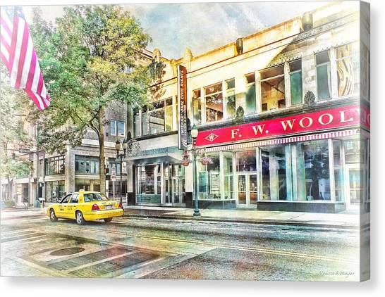 Morning Taxi Downtown Urban Scene Canvas Print