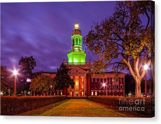 Texas Christian University Canvas Print - Morning Twilight Shot Of Pat Neff Hall At Baylor University - Waco Central Texas by Silvio Ligutti