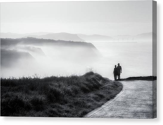 Cliffs Canvas Print - Morning Walk With Sea Mist by Mikel Martinez de Osaba