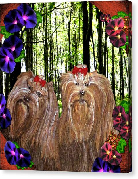 Canvas Print featuring the digital art Morning Yorkies by Michelle Audas