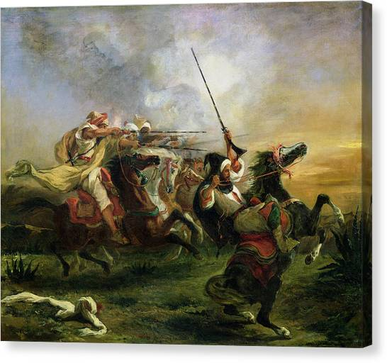Moroccan Canvas Print - Moroccan Horsemen In Military Action by Ferdinand Victor Eugene Delacroix