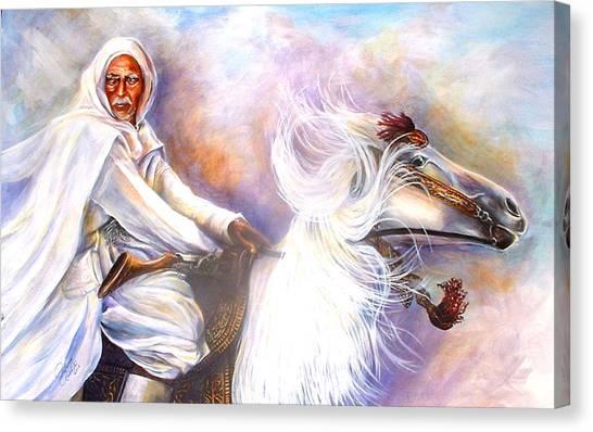 Moroccan Man Riding Arabian Stallion  Canvas Print by Patricia Rachidi