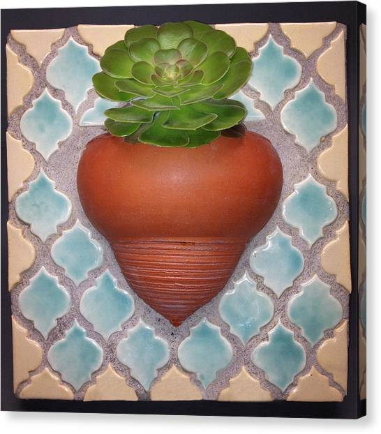 Ceramics Canvas Print - Moroccan Mosaic With Aeonium by Evelyn Taylor Designs