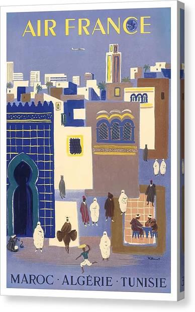 Moroccon Canvas Print - Morocco, Algeria, Tunisia, Air France Vintage Airline Travel Poster by Retro Graphics