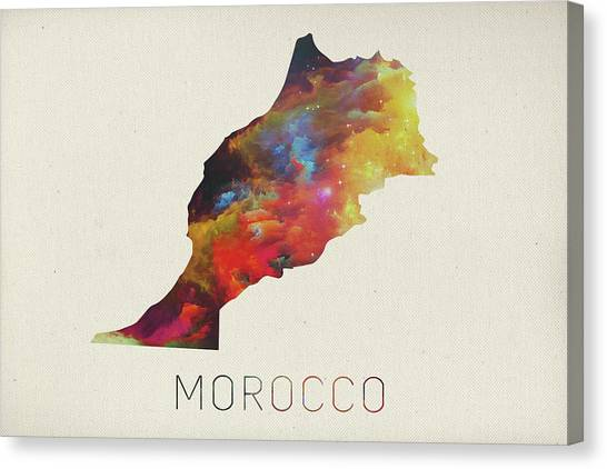 Moroccon Canvas Print - Morocco Watercolor Map by Design Turnpike