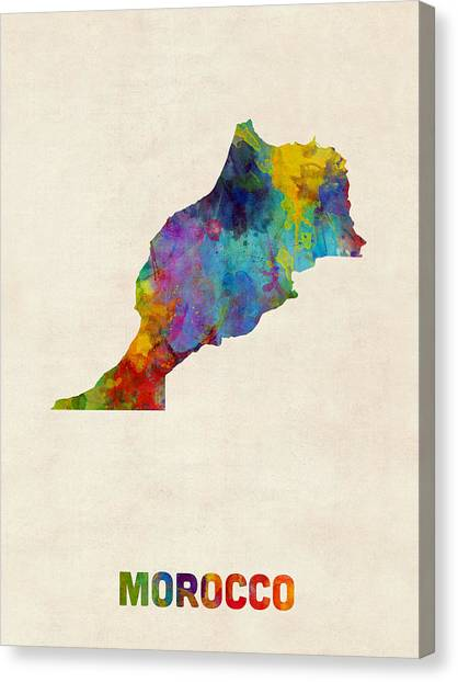 Moroccon Canvas Print - Morocco Watercolor Map by Michael Tompsett