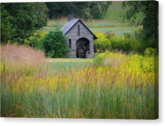 Canvas Print featuring the photograph Morris Arboretum Mill In September by Bill Cannon