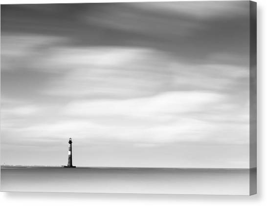 South Carolina Canvas Print - Morris Island Lighthouse Bw by Ivo Kerssemakers
