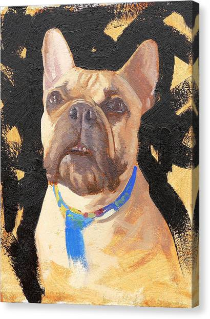 French Bull Dogs Canvas Print - Morris The French Bull Dog by Taylor Paints