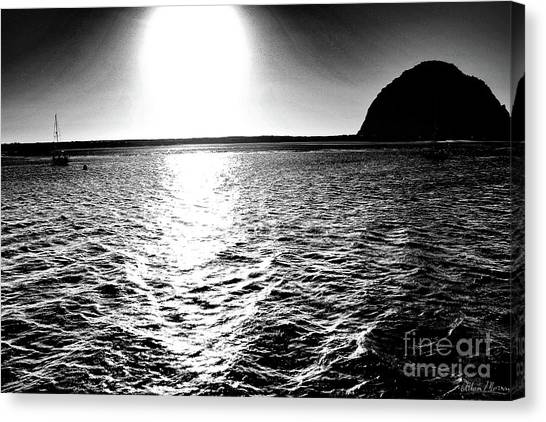 Morro Rock, Black And White Canvas Print