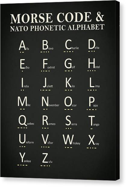 Nato Canvas Print - Morse Code And Phonetic Alphabet by Mark Rogan