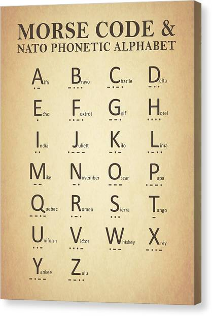 Nato Canvas Print - Morse Code And The Phonetic Alphabet by Mark Rogan