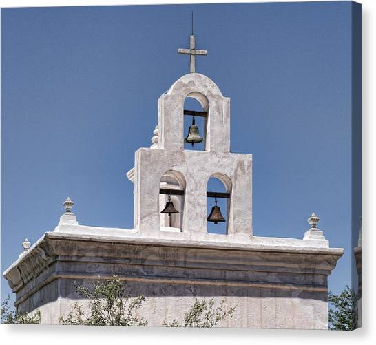 Father Kino Canvas Print - Mortuary Chapel Bells - Mission San Xavier Del Bac - Tucson Arizona by Jon Berghoff