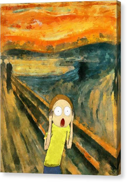 Munch Canvas Print - Morty Scream by Rick And Morty