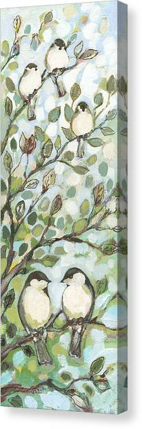 Songbirds Canvas Print - Mo's Chickadees by Jennifer Lommers