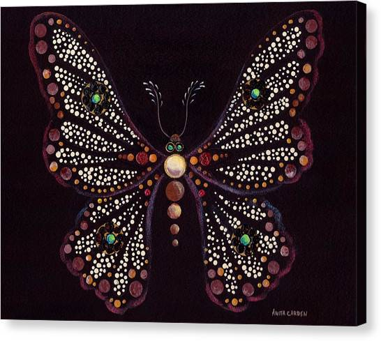 Mosaic Butterfly Canvas Print by Anita Carden