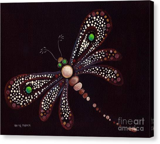 Mosaic Dragonfly Canvas Print by Anita Carden