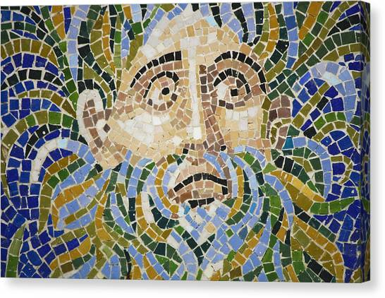 J Paul Getty Canvas Print - Mosaic Face Fountain Detail by Teresa Mucha