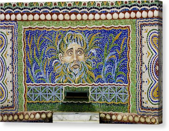J Paul Getty Canvas Print - Mosaic Fountain At Getty Villa 1 by Teresa Mucha