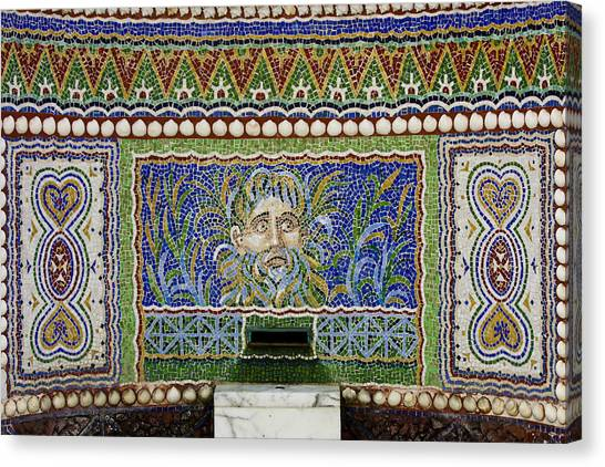 J Paul Getty Canvas Print - Mosaic Fountain At Getty Villa 3 by Teresa Mucha