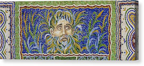 J Paul Getty Canvas Print - Mosaic Fountain Face View 2 by Teresa Mucha