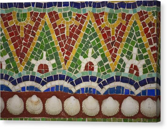 J Paul Getty Canvas Print - Mosaic Fountain Pattern Detail 4 by Teresa Mucha