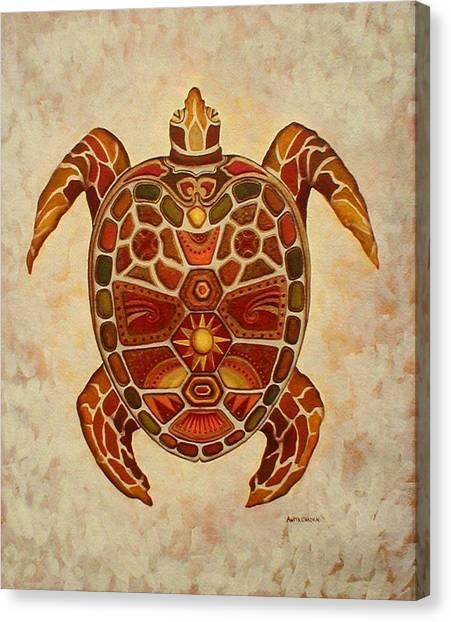 Mosaic Sea Turtle Canvas Print by Anita Carden